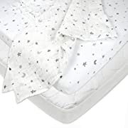 American Baby Company Playard Bundle Mattress Pad Cover, Fitted Sheet, Muslin Swaddle Blanket, Grey Stars and Moon