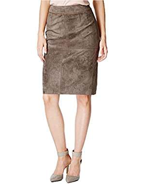Calvin Klein Women's Brown Faux-suede Pencil Skirt