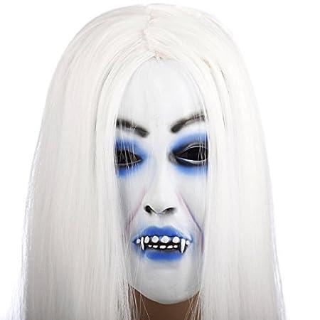 Halloween Horror Grimace Ghost Mask Scary Zombie Emulsion Skin with Hair (Black Hair) SUNREEK