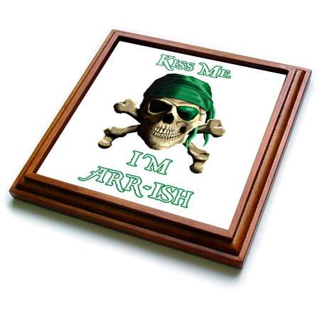 - 3dRose MacDonald Creative Studios - Nautical - Funny Irish Jolly Roger joke Kiss Me I'm ARRish - 8x8 Trivet with 6x6 ceramic tile (trv_299232_1)
