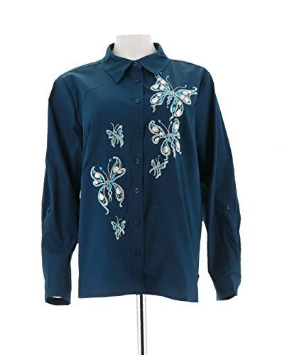 Bob Mackie Clothes - Bob Mackie Womens Sequin Jewel Butterfly Fantasy Camp Shirt Navy 1X New A288442