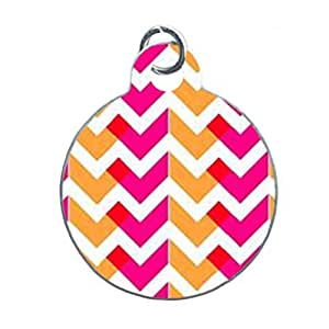 ORANGE AND PINK NEON CHEVRON Custom Unique Image Dog Tag (one Side image) Ideal Gift for Pets