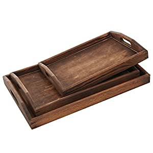 Set of 3 Tourched Wood Rectangular Nesting Breakfast, Coffee Table / Butler Serving Trays, Dark Brown