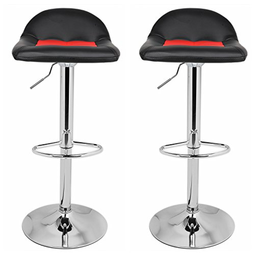 Modern Color Mix Bar Stools Adjustable 360 Degree Swivel Barstool with Back and Foot Rest Set of 2 (Black and Red)