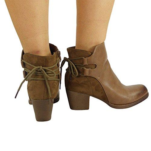 bajo mujer cordones botines tacón para tacón Botines de 3 Tamaño zapatos Botines medio Caqui 8 Chelsea de con fgPq5w8