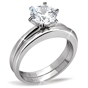 Amazoncom Stainless Steel Solitaire Cubic Zirconia Plain Band