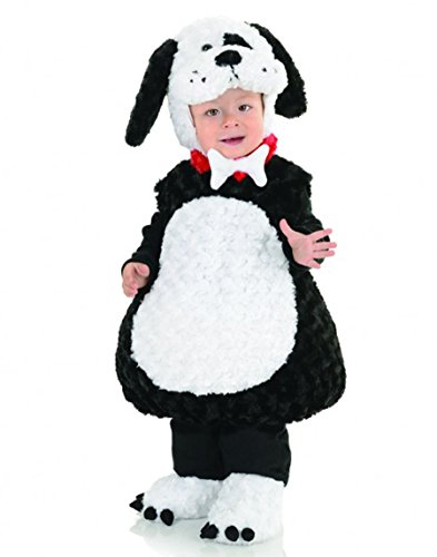 Underwraps Costumes Toddler Baby's Puppy Costume - Belly Babies Furry Puppy Costume, Black/White, (Family Halloween Costumes With Toddler)