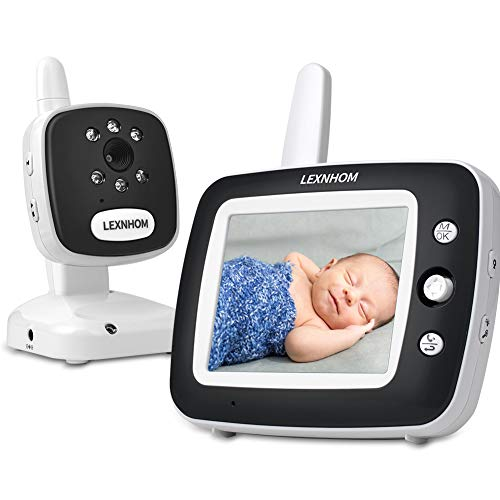 LEXNHOM Baby Video Monitor, Wireless Baby Monitor with Camera and Audio 3.5″ Infrared Night Vision Temperature Monitoring Two-Way Talk