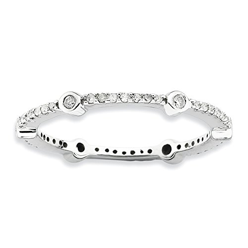 2.5mm Sterling Silver Bezel Prong set Rhodium-plated Stackable Expressions Polished Diamond Ring - Size 8