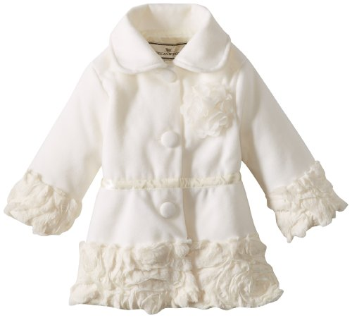 Widgeon Baby-Girls Infant Embroidered Ribbon Coat, Ribbon/Fur Cream, 12 Months