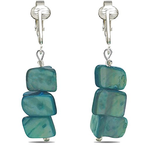 Funky, Bold & Stylish Turquoise Chunky Clip-on Earrings for Unpierced Ears-Trendy Jazzy Dangling Style