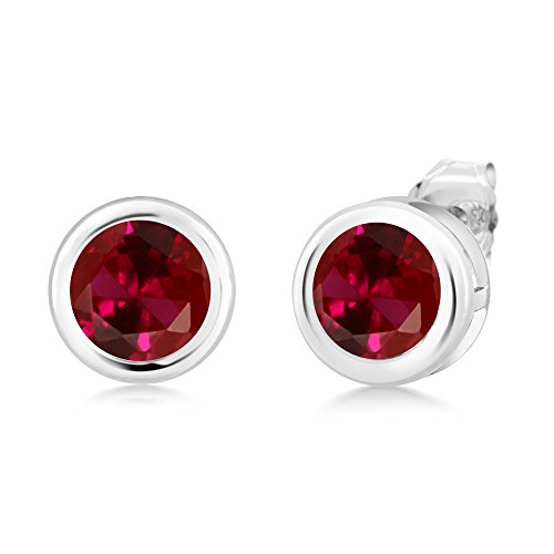 Ladies Diamond 2ct Bezel - Gem Stone King 2.00 Ct Round 6mm Red Created Ruby 925 Sterling Silver Stud Earrings