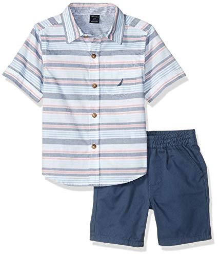 Nautica Sets (KHQ) Boys' Toddler 2 Pieces Shirt Shorts Set, Stripes/Blue 3T ()
