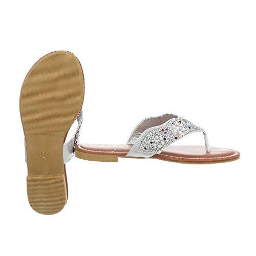 de Design de Sandalias Vestir Zapatos Plano 3 Dedo Mujer Dg Para Sandalias Plateado Ital daXTqww