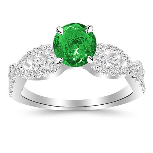 2.6 Carat 14K White Gold Designer Twisting Eternity Channel Set Four Prong Diamond Engagement Ring with a 2 Carat Natural Emerald Center (Heirloom Quality) ()