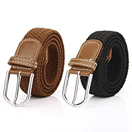 2 Pack Womens Stretch Braided Belt Canvas Casual Elastic Woven Ladies Belts for Jeans