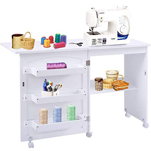 Giantex Folding Sewing Craft Table, Sewing Machines Table with Storage Shelves and Lockable Casters Folding Study, Computer Desk Home Apartment Space Saving for Small Spaces, White (Craft Table With Shelves)