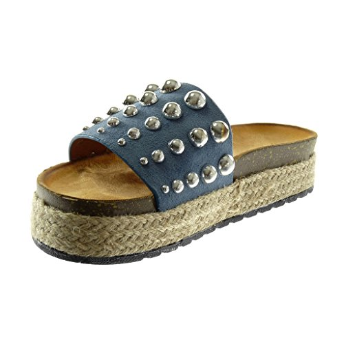 Angkorly Zapatillas Moda Sandalias Mules Slip-On Plataforma Mujer Tachonado Perla Cuerda Plataforma 4 cm Azul