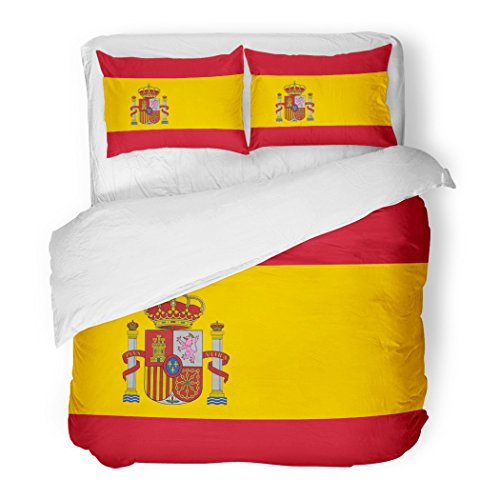 SanChic Duvet Cover Set Red Spanish Flag of Spain with Arms Accurate Dimensions Proportions and Colors Yellow Official Decorative Bedding Set with Pillow Sham Twin Size by SanChic