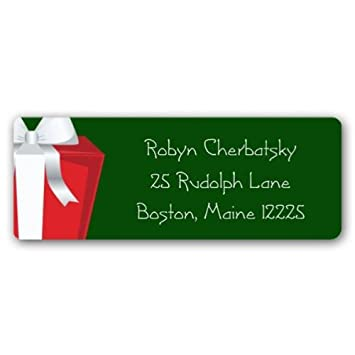 amazon com present green christmas return address labels health