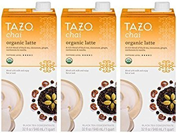 Tazo Tea Blended Tea - Tazo Chai Organic Tea Latte Concentrate 32-ounce Boxes Pack of 3