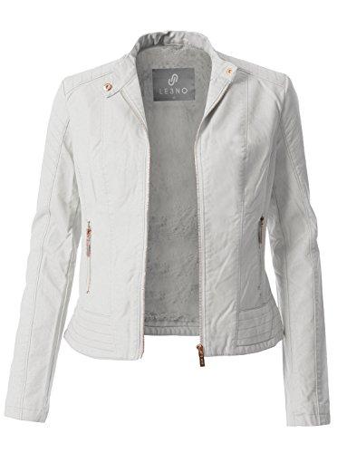 Womens White Leather Jacket - 7