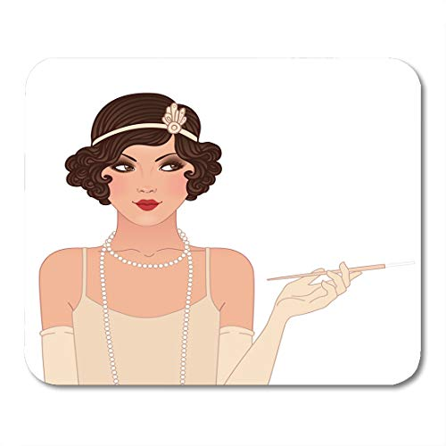 Emvency Mouse Pads Beige Roaring Flapper Girls Young Beautiful Woman of 1920S Mouse Pad for notebooks, Desktop Computers mats 9.5