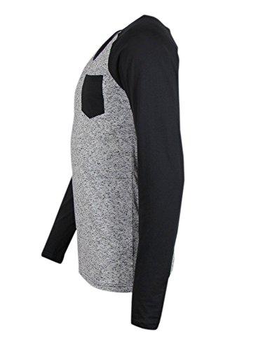 Longsleeve - Mit Pocket auf Brust - schwarz / grau