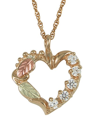 Black Hills Mothers Heart Pendant in 10k Gold - Customizable with 1,2,3,4,5 or 6 Birthstones