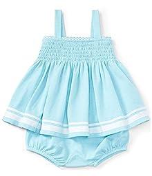 Ralph Lauren Baby Girls Smocked Cotton Top & Bloomer Set Aquamarine/White (18 Months)