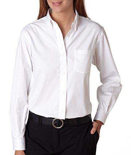 Van Heusen Ladies' Wrinkle-Resistant Blended Pinpoint Oxford L - Pinpoint Shirt Ladies Oxford