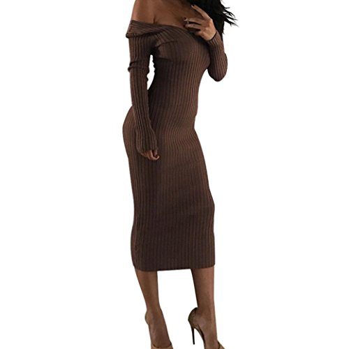 Polka Dot Slip Fitted (Women Off Shoulder Bodycon Dress Sexy V Neck Long Sleeve Maxi Dress)