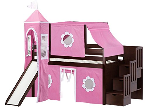 JACKPOT! Princess Low Loft Stairway Bed with Slide Pink & White Tent and Tower, Loft Bed, Twin, Cherry