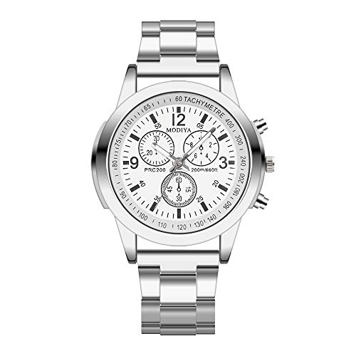 Men's Fashion Ultra Thin Watches Stainless Steel Sport Quartz Analog Date Hours Wrist Watch (White)