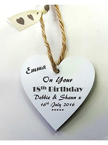 Personalised 18th Birthday Wooden Gift Tag Mini Heart Plaque FREE