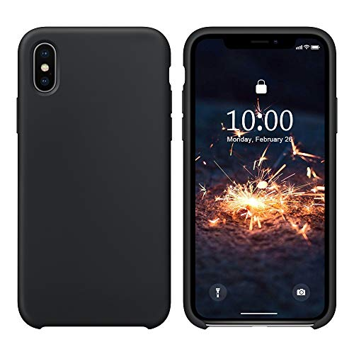 (SURPHY Silicone Case for iPhone Xs iPhone X Case, Soft Liquid Silicone Slim Rubber Protective Phone Case Cover (with Soft Microfiber Lining) Compatible with iPhone X iPhone Xs 5.8