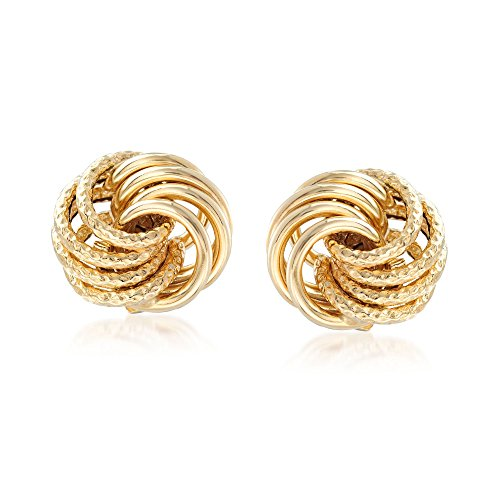 Ross-Simons Italian 14kt Yellow Gold Textured and Polished Swirl Stud Earrings