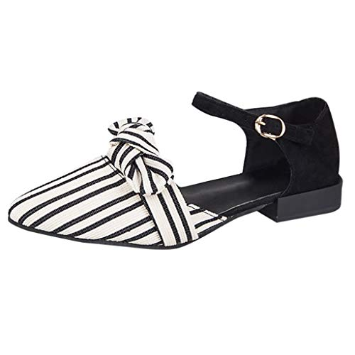 Caopixx Women Pointed Toe Stripe Shoes Shallow Square Heel Buckle Strap Casual Sandals Black