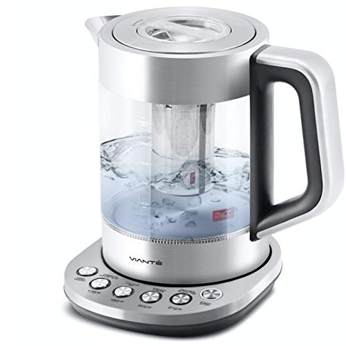 Electric Glass Kettle and Tea Maker with Temperature Controls. Digital Water heater. Programmable for your favorite types of tea & Coffee. Removable Tea Infuser. Stainless Steel Glass Boiler. BPA-FREE 1.6 liters by Vianté