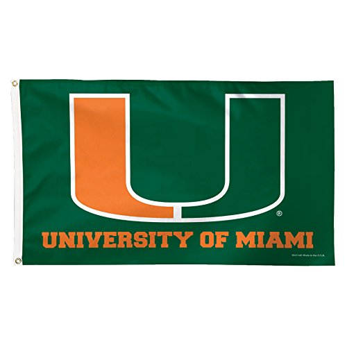 NCAA Miami Hurricanes Deluxe Flag, 3 x 5', Multicolor