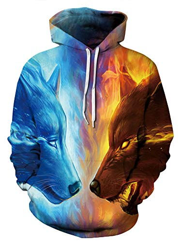 Unisex Realistic Fire Ice Wolf Printed Hip Hop Street Style Hip Hop Sweatshirt Pullover Hoodie for Men Women