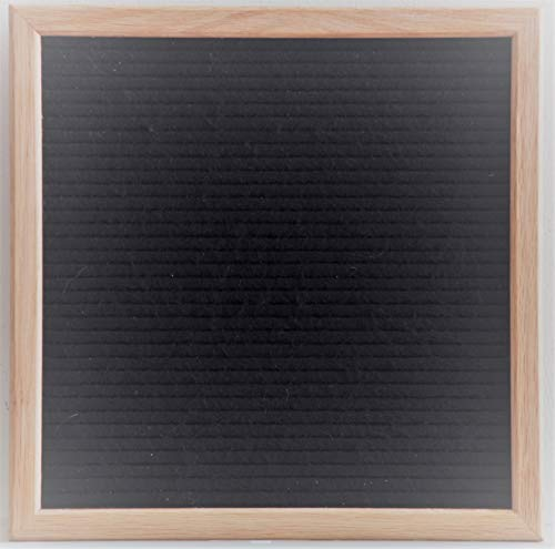 """Modern Retro Black Felt Letter Board 12""""x12"""" - Perfect Home Décor, Teacher Gifts, Office Wall Art - Oak Frame Sign + 344 Letters, Numbers, Punctuation Marks & Special Characters by Board Industry"""