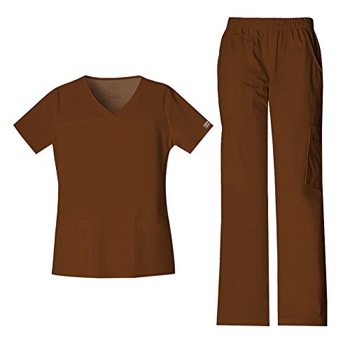 Cherokee Women's Workwear Core Stretch V-Neck Top 4727 & Mid Rise Pull On Cargo Pant 4005 Scrub Set (Chocolate - XX-Large/X-Large)