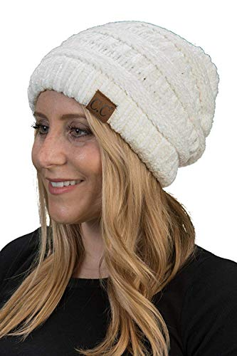 Funky Junque H-6020a-3025 Solid Ribbed Beanie - Chenille Ivory