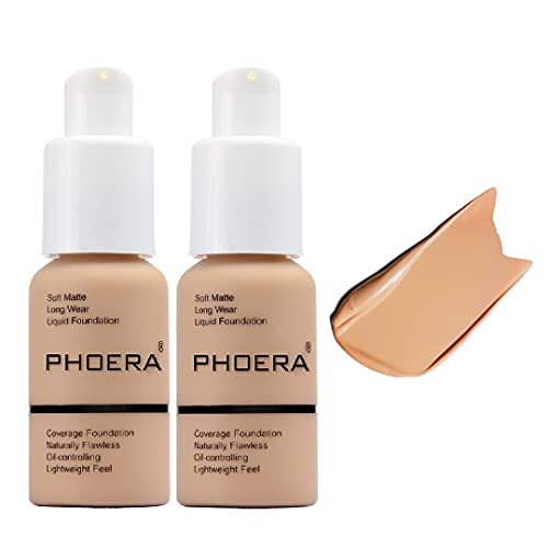 2 Pack Phoera foundation, Brighten Highlighting Matte Oil Control Concealer Facial Blemish Concealer Color Changing…