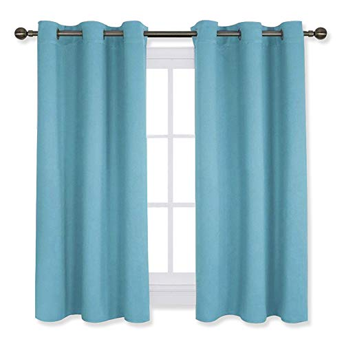 NICETOWN Thermal Insulated Curtains Blackout Draperies, Window Treatment Solid Grommet Room Darkening Drape Panels for Bedroom (Teal Blue=Light Blue, Set of 2 Panels,42 by 45 Inch Long)