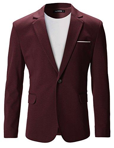 FLATSEVEN Mens Slim Fit Casual Premium Blazer Jacket (BJ102) Wine, M ()