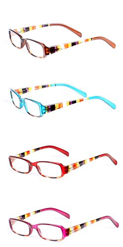LL Womens 4 Pack Rectangle Reading Glasses 1.75x Spring Hinge Striped - Couch Glasses