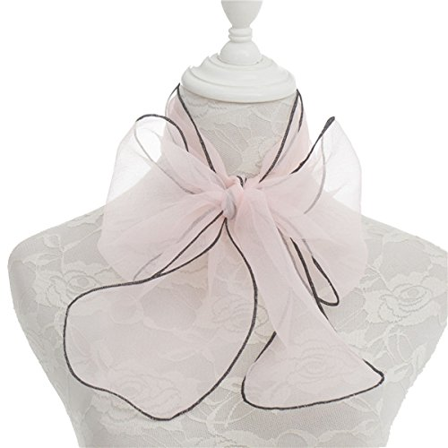 Women's Organza Plain Pink Skinny Necktie Scarf 14017cm Sash Tie Ribbon Headdress Pink Ribbon Tie