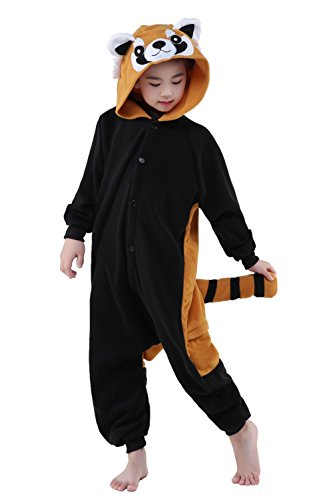 [Newcosplay Unisex Children Racoon Pyjamas Halloween Onesie Costume (125)] (Raccoon Girl Costumes)